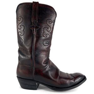 Lucchese Burgundy Leather Men's Western Boots